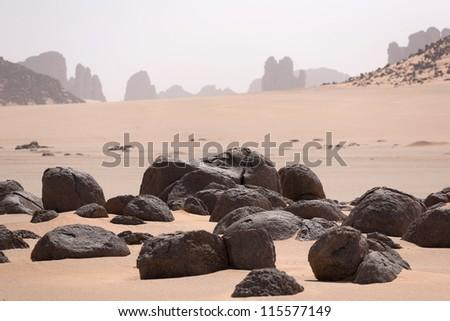 Stones in the Sahara Desert - stock photo