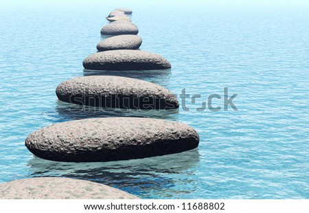 Stones in water - stock photo