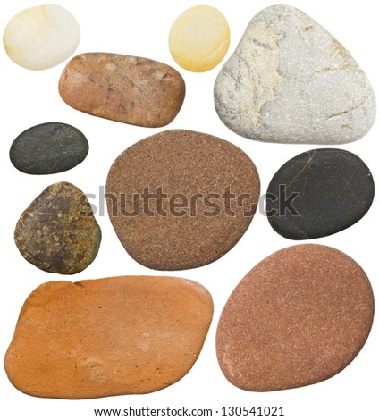 Stones isolated on white background. Smooth sea rocks. - stock photo