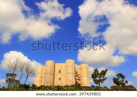 Stones of Apulia.Castel del Monte: the main facade.-ITALY(Andria)-Castel del Monte aka Castrum Sancta Maria de Monte, an Unesco world heritage site in Puglia :the main facade. - stock photo