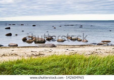 Stones on coast of sea - stock photo