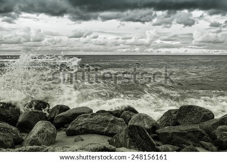 Stones on the beach. Baltic Sea - stock photo