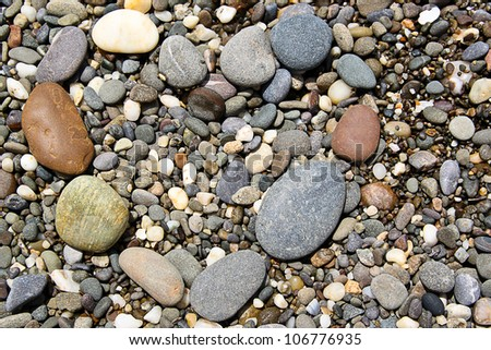 Stones on the beach like heart - stock photo