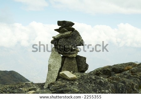 Stones on the rout in Cordilleras mountain