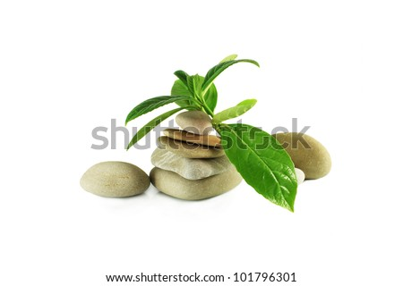 stones pyramid and leaves on a white background