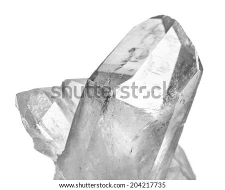 Stones: Rock crystal isolated on white background - stock photo