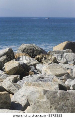 stones view from beach in vallarta mexico - stock photo