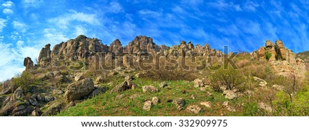 "Stony Demerdzhi Mountain panorama view (Crimea, Ukraine), and ""Valley of ghosts"" (with rocky bizarre geological formations) under this mount. - stock photo"
