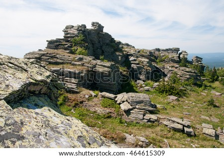 Stony plateau of Urenga ridge, Chelyabinsk region, Russian Federation
