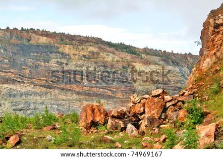 Stony scenery in a quarry - stock photo