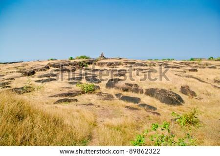 Stony slope - stock photo