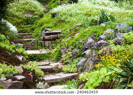 Stony stairs in the green blooming garden. - stock photo