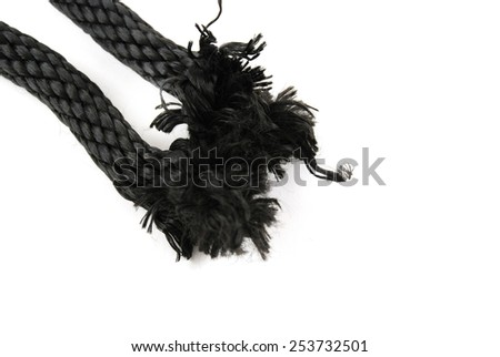 stoock pictures of a piece of rope ready to be broken - stock photo