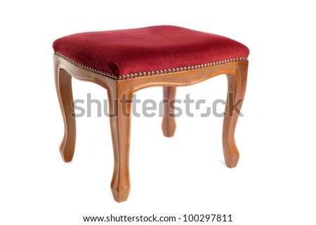 stool in velvet and wood in front of white background - stock photo