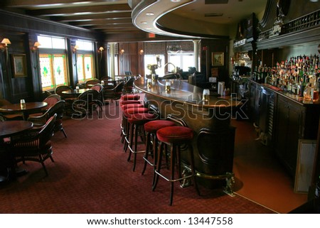 Stools lined up in a tavern