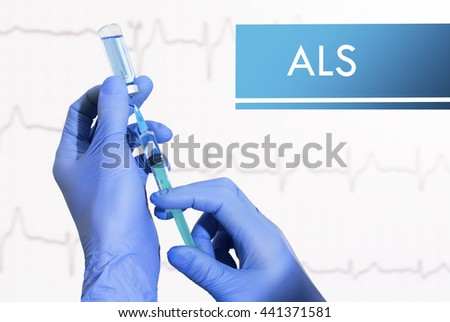Stop ALS (amyotrophic lateral sclerosis). Syringe is filled with injection. Syringe and vaccine - stock photo