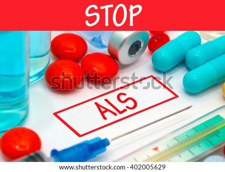 Stop als. Vaccine to treat disease. Syringe and vaccine with drugs. - stock photo