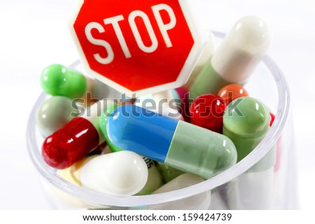 stop and drugs - against addiction and bad habit  - stock photo