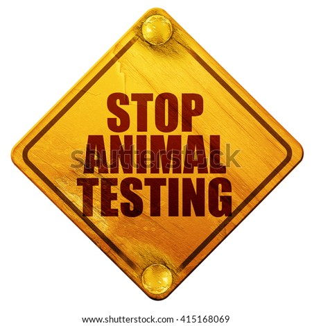 stop animal testing, 3D rendering, isolated grunge yellow road s - stock photo
