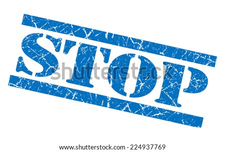 stop blue grunge stamp isolated on white - stock photo