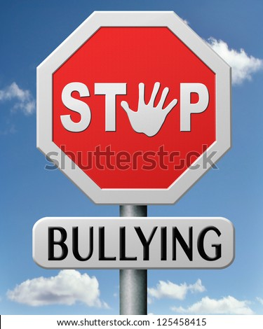 stop bullying at school or at work stopping an online internet bully - stock photo
