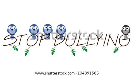 Stop bullying twig text isolated on white background - stock photo