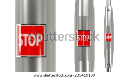 Stop button in public transportation. Conceptual image for decision making - stock photo