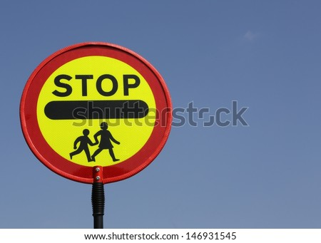 Stop, children crossing warning roadsign. - stock photo