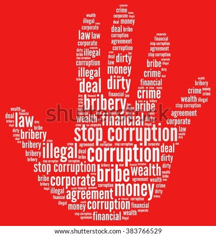 Stop corruption in word collage - stock photo