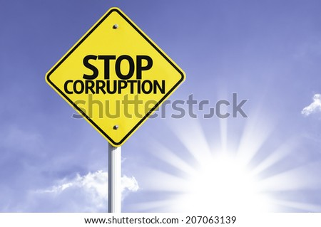 Stop Corruption road sign with sun background  - stock photo