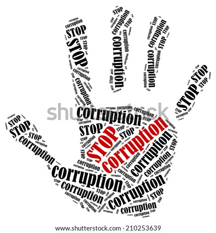 Stop corruption. Word cloud illustration in shape of hand print showing protest.  - stock photo