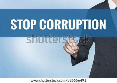 Stop Corruption word on virtual screen touch by business woman blue background - stock photo