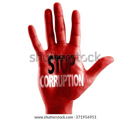 Stop Corruption written on hand isolated on white background - stock photo