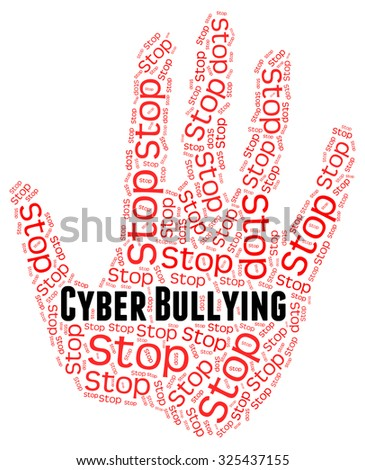 Stop Cyber Bullying Showing Warning Sign And Stopped - stock photo