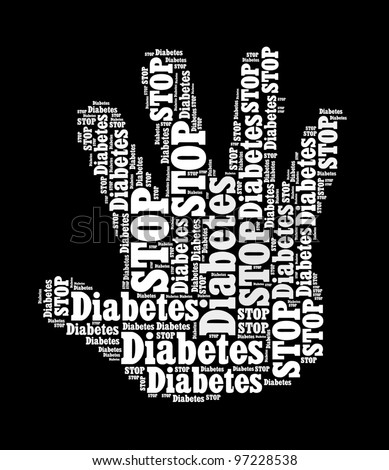 Stop Diabetes Sign in word collage - stock photo