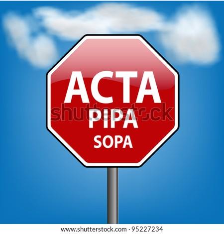 Stop digital privacy restrictions ACTA, PIPA, SOPA - JPEG version - stock photo