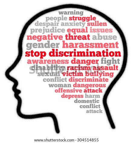 Stop discrimination in word cloud concept - stock photo