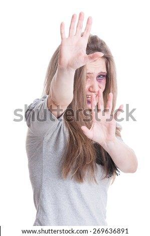 Stop domestic violence concept isolated on white studio background - stock photo