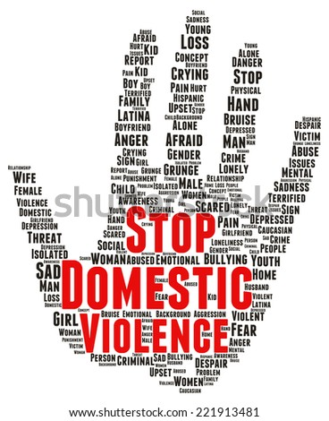 Stop domestic violence word cloud shape concept - stock photo