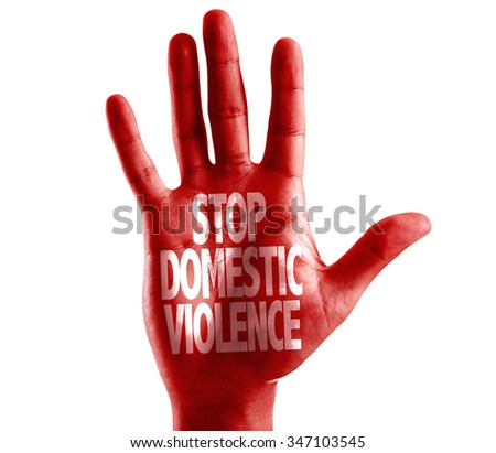 Stop Domestic Violence written on hand isolated on white background - stock photo