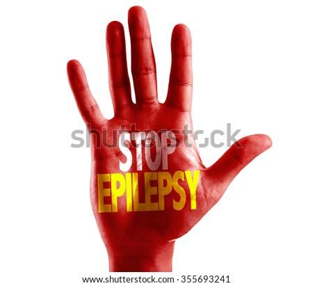 Stop Epilepsy written on hand isolated on white background - stock photo