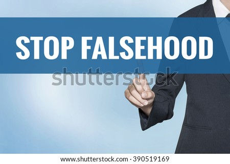 Stop Falsehood word on virtual screen touch by business woman blue background - stock photo