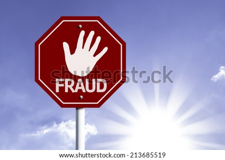 Stop Fraud red sign with sun background  - stock photo
