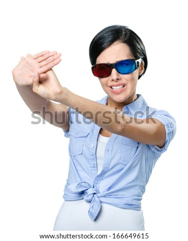Stop gesturing girl in 3D glasses with black rim, isolated on white - stock photo