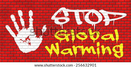 stop global warming and climate change carbon neutral go green energy solar or wind power  green house effect no pollution graffiti on red brick wall, text and hand - stock photo
