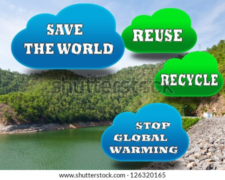 Stop global warming concept. The new energy-saving and recycling. - stock photo