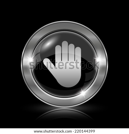 Stop icon. Internet button on black background.