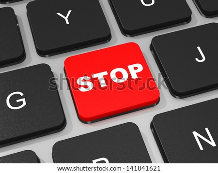 STOP key on keyboard of laptop computer. 3D illustration.