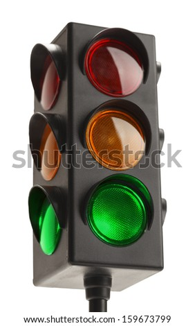 Stop Light With Green Go Signal Isolated on White Background. - stock photo