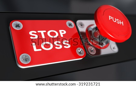 Stop loss panic button with over black background, finance concept - stock photo